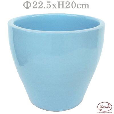 GPカラーラウンドポット ブルーM パステル 化粧鉢 青 水色 鉢カバー ポットカバー 寄せ植え 鉢 室内 多肉 小さい おしゃれ かわいい 陶器鉢