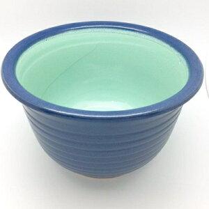睡蓮鉢 陶器 11号 深型 メダカ 鉢 すいれん鉢 藍 青 紺 内側 釉 ビオトープ メダカリウム   丸 円【睡蓮鉢 SHA-40S】