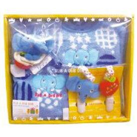 RUB A DUB DUB【ラブアダブダブ】ベビーギフトセットC ブルー☆出産祝いに喜ばれるギフトセットです!スタイ、ラトル、ハンドタオル、タオルクリップの4点セット。MADE IN JAPAN