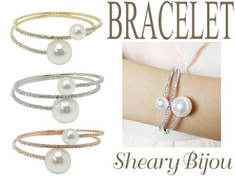 Double Pearl x stone ring bracelet wedding 3 blacelet bangle pearl bracelet Bangle ladies store bargain 10P23Aug15