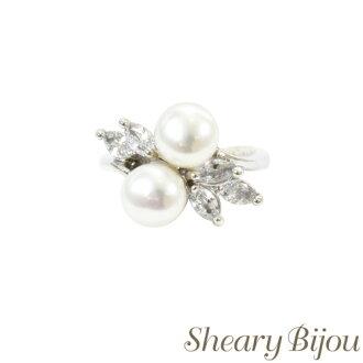 对成年女性而言正好的奢华的环戒指球杆BIC氧化锆淡水珍珠高雅礼物礼物礼品儿媳妇她女士配饰婚礼派对