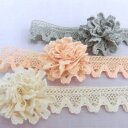 オーガニックコットン ギャザーレース トーションレース 18mm巾 50cm単位 服飾資材 手芸 簡単に ギャザーや お花が作れる ギャザーフリ…