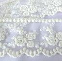 ウール チュールレース 薔薇 65mm巾 50cm単位 服飾資材 手芸 繊細なチュールにウールで刺繍 バラ柄と ポンポンが可愛いデザインのウー…