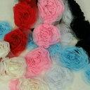 シフォン モチーフ 花 白 黒 1個単位 服飾資材 手芸 ウエディング リボンを巻いた様な 薔薇モチーフが素敵【シープド…