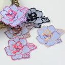 モチーフレース 花 薔薇 2枚セット 刺しゅうレース 日本製 服飾資材 手芸 サテン 上品【シープドリームズ】