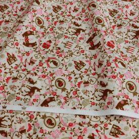 クリスマス 生地 10cm単位 日本製 手芸 教会と動物たちの 可愛いプリント 綿100% シーチング生地【シープドリームズ】