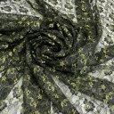 レース生地 ラメレース ブラック 50cm単位 日本製 服飾資材 洋裁 服地 手芸 ゴールドラメ シックな 花柄ラッセルレース【シープドリー…