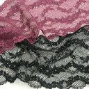 ストレッチレース 黒 花柄 薔薇 160mm巾 50cm単位 服飾資材 手芸 日本製ポリウレタン糸使用 ソフトな伸縮の バラ柄 ストレッチラッセル…