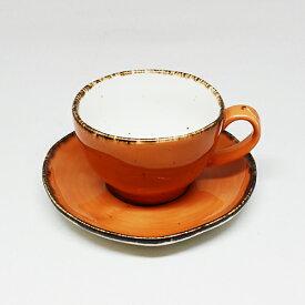 フリッシュ 9cm カップ&ソーサー オレンジおしゃれ 食器 お手頃 お得 家庭用 業務用 レストラン ホテル 可愛い カップ ソーサー
