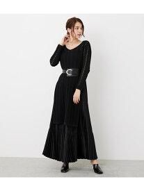 ストライプクロシェKnit TOP rienda リエンダ ニット ニットその他 ブラック ピンク【送料無料】[Rakuten Fashion]