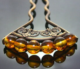 """""""愛の宝石 """"最上質級天然琥珀の美しい扇かんざし"""