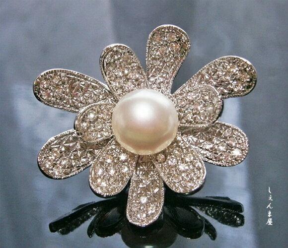 天然本真珠大粒10ミリアップ!お花帯留め