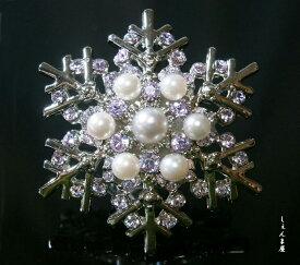 結晶*ラベンダーラインストーンと7粒あこや本真珠帯留め