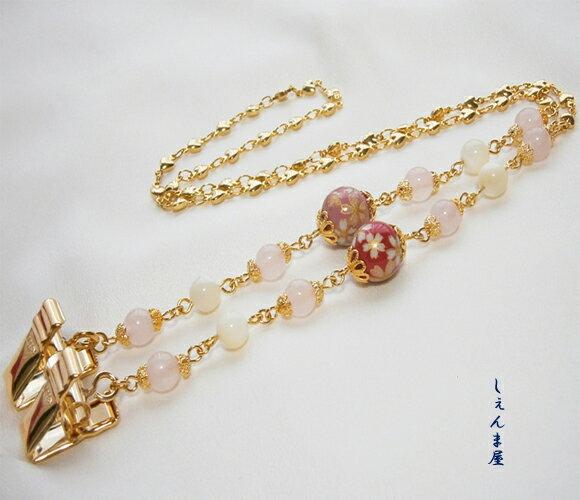 【お買い得】美しい桜転写玉と天然石*ピンクなオリジナルディナークリップ【和装 お食事 マナー ナプキンクリップ】