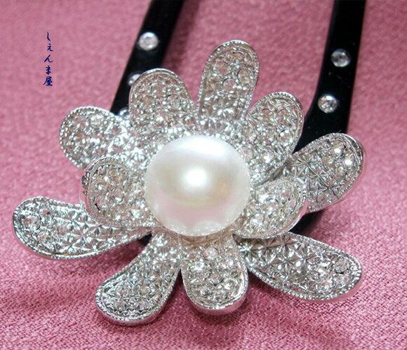 天然本真珠大粒10ミリアップ!お花かんざし【ラッキーシール対応】【和装 髪飾り パール 結婚式 パーティー】