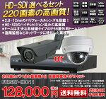 220万画素IP66対応屋外用赤外線防犯カメラ1台とHD-SDI対応4chネットワーク録画機セットDVRSET-HD011