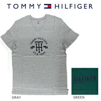 TOMMY HILFIGER 트미히르피가프린트티샤트(T셔츠) 맨즈 반소매 V넥 2 colors US사이즈 약간 큰 코튼면 113698 GRAYHEATHER SPURUCE