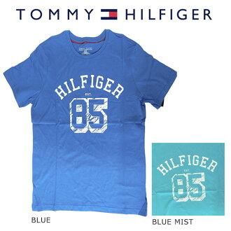 TOMMY HILFIGER 트미히르피가프린트티샤트(T셔츠) 맨즈 반소매 라운드넥 2 colors 약간 큰 US사이즈 코튼면 118309 CORNFLOWER BLUE BLUE MIST BLUE