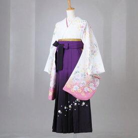 卒業式 袴 レンタル 12点セット 送料無料 gr130 白地にコスモスと桜 Lサイズ