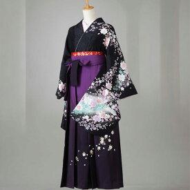 卒業式 袴 レンタル 12点セット 送料無料 gr133 黒地にピンク桜柄 Lサイズ