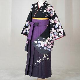 卒業式 袴 レンタル 12点セット 送料無料 gr134 黒コスモス Lサイズ