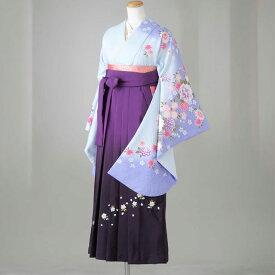 卒業式 袴 レンタル 12点セット 送料無料 gr137 水色に牡丹・花々 Lサイズ