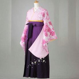 卒業式 袴 レンタル 12点セット 送料無料 gr138 ピンク地に白と濃いピンクの桜柄