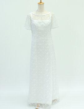 ウェディングドレス レンタル 9号「半袖レース重ね着」n016【レンタル/ウェディングドレス/貸衣装/袖付】【fy16REN07】