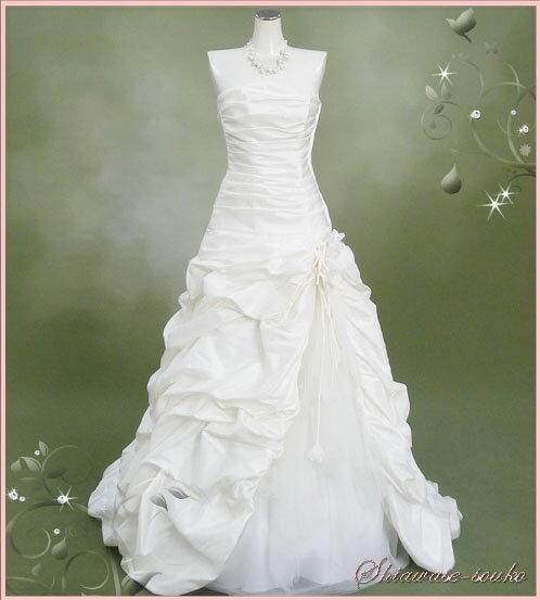 レンタル ウェディング ドレス「チュールドレープ裾バルーン(コサージュ取り外し可)」n021【レンタル/ウェディングドレス/貸衣装】【fy16REN07】