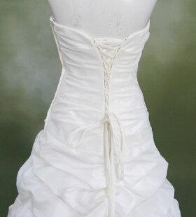 レンタルウェディングドレス「チュールドレープ裾バルーン(コサージュ取り外し可)」n021【レンタル/ウェディングドレス/貸衣装】