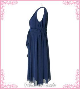 パーティドレスレンタル大きいサイズ15号「ネイビー胸元パール前リボンワンピース」g515