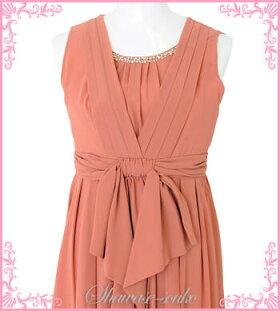 【g524】パーティドレスレンタル大きいサイズ15号「オレンジ胸元パール前リボンワンピース」