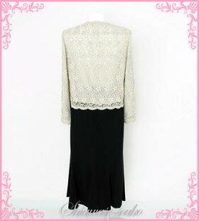 パーティドレスレンタル15号「ラメゴールド花刺繍ジャケット」g536
