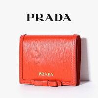 02a7d0af7da8 PR PRADA プラダ リボン付き VITELLO MOVE FI 二つ折り 財布 小.