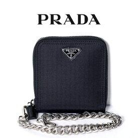 1bad21b58a52 PRADA プラダ メンズ 二つ折り 財布 2ML221 テスート 三角ロゴ 純正チェーン付き ブラック【新品
