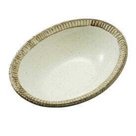 カネ定製陶/渕錆粉引 楕円鉢/美濃焼/日本製