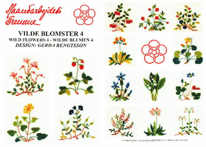 【DM便対応】フレメ VILD BLOMSTER 4 野生の花 図案 チャート クロスステッチ Haandarbejdets Fremme デンマーク 北欧 ギルド 刺しゅう 52-2108