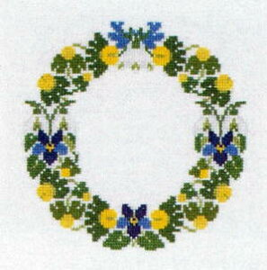 フレメ クロスステッチ刺繍キット 輸入 Stor blomsterkrans 花のガーランド Haandarbejdets Fremme 刺しゅう デンマーク 北欧 10B GB 上級者 30-2432