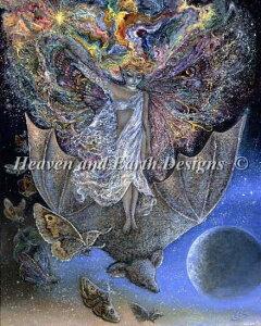 クロスステッチ刺繍図案 Heaven And Earth Designs 輸入 HAED 上級者 Josephine Wall 蝙蝠 Bats Back 全面刺し