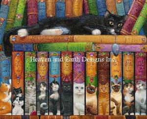 Heaven And Earth Designs クロスステッチ刺繍図案 HAED 輸入 上級者 Randal Spangler 猫の本棚 Cat Double Shelf 全面刺し