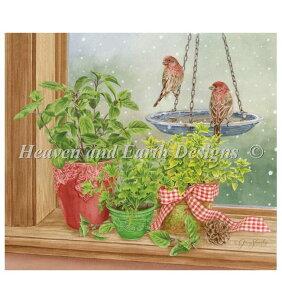 クロスステッチ刺繍図案 Heaven And Earth Designs HAED 輸入 上級者 Jane Shasky 窓の下枠とハーブ Herb Windowsill 全面刺し
