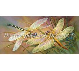 Heaven And Earth Designs クロスステッチ刺繍図案 HAED 輸入 上級者 Oleg Gavrilov 金色のトンボ Golden Dragonflies 全面刺し