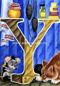クロスステッチ刺繍図案 Heaven And Earth Designs 猫のアルファベット(Y) Irina Garmashova 全面刺し QS Y IG