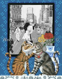 HAED Heaven And Earth Designs クロスステッチ刺繍 図案 輸入 上級者 Bill Dodge キスをゲット Lulu Gets a Kiss 全面刺し