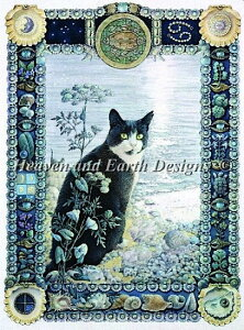 Heaven And Earth Designs (HAED) クロスステッチ刺繍 図案 輸入 蟹座の猫 Cancer - Chesterton 全面刺し 上級者