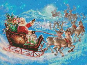 クロスステッチ刺繍 図案 輸入 Heaven And Earth Designs (HAED) クリスマス サンタ・マジカルフライト Santas Magical Flight 全面刺し 上級者