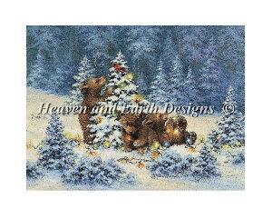 クロスステッチ刺繍 図案 輸入 Heaven And Earth Designs (HAED) お茶目なクマ Playful Bears Playful Bears 全面刺し 上級者