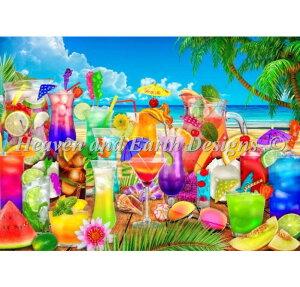 クロスステッチ刺繍 図案 Heaven And Earth Designs HAED 輸入 上級者 Lars Stewart ドリンク・ビーチ Supersized Drinks On The Beach Max Color 全面刺し ハイレベル
