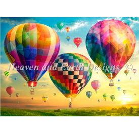 クロスステッチ刺繍 図案 Heaven And Earth Designs HAED 輸入 上級者 Lars Stewart 熱気球と日の出 Hot Air Balloon Sunrise Max Color 全面刺し ハイレベル