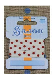 Maison Sajou(サジュー)リボン1m 【RUBAN COTON - 11 MM - FOND ÉCRU - MOTIF POIS ROUGE】 フランス 輸入雑貨 RUB_COUT_011_01 【予約】